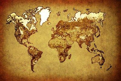 Vinilo antiguo mapa del mundo en el papel viejo