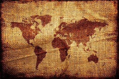 Vinilo Antiguo mapa del mundo en hesian textura saco