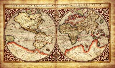 Vinilo Antiguo mapa del mundo, impreso en 1587
