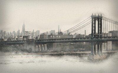Vinilo Antiguo panorama monocromático de la ciudad de Nueva York