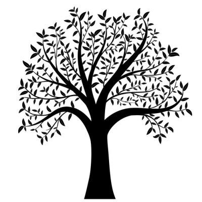 Vinilo Árbol con hojas de vectores