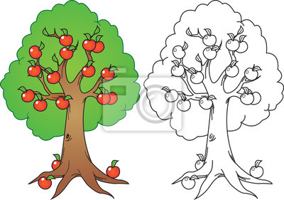 árbol De Manzana De La Historieta En El Color Y La Versión N Vinilos