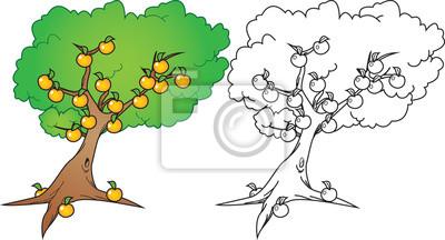 árbol De Naranja De Dibujos Animados En Color Y Versión Blanco
