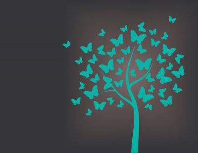 Vinilo Árbol hecho de mariposas