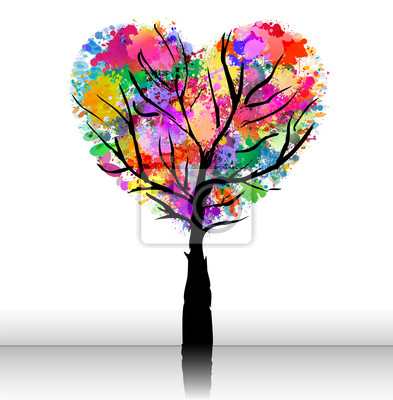 árbol Romántico Con Coloridos Forma De Corazón Vinilos Para