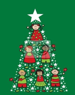 Imagenes Animadas Arboles Navidad.Vinilo Arboles De Navidad De Dibujos Animados Los Ninos