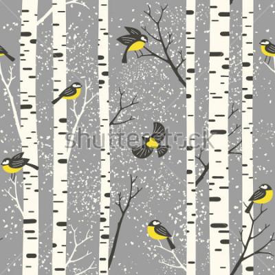 Vinilo Árboles y pájaros de abedul Nevado en fondo gris. Patrón de vectores sin problemas Perfecto para el diseño de tela, papel pintado, papel de regalo o postal.
