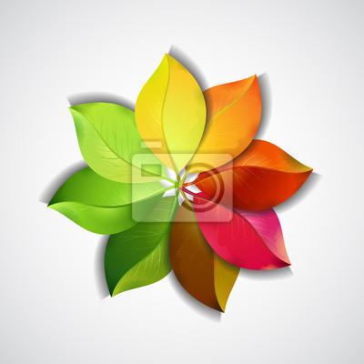 Arco Iris Del Vector De La Flor De Las Hojas De Colores Vinilos Para