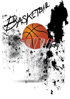 Vinilo aro de baloncesto en el fondo blanco del grunge