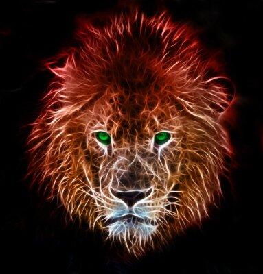 Vinilo Arte digital de la fantasía del fractal de un león en un fondo aislado