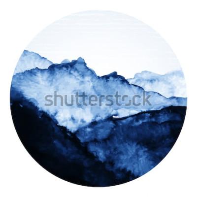 Vinilo Arte tradicional de tinta asiática con montañas. Ilustración de arte vectorial