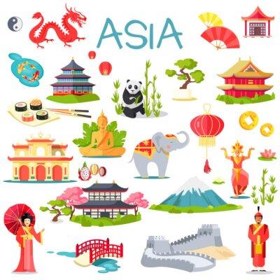 Vinilo Asia colección de elementos simbólicos en blanco