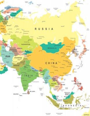 Vinilo Asia - mapa - ilustración. Mapa de Asia - altamente detallada ilustración vectorial.