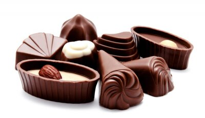 Vinilo Assortment of chocolate candies isolated