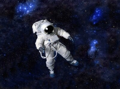 Vinilo Astronauta flotando en el espacio oscuro.