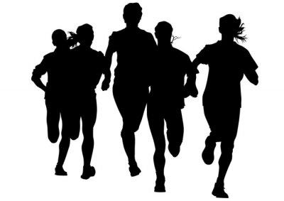 Vinilo Atletas de la mujer en carrera a pie en el fondo blanco
