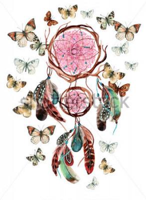 Vinilo Atrapasueños con plumas y mandala. Acuarela atrapasueños étnica y mariposa aislada sobre fondo blanco. Ilustración pintada a mano para su diseño.