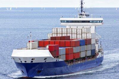 Vinilo Auf der Ostsee Containerschiff bei Kiel