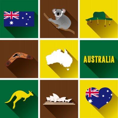 Vinilo Australia Conjunto De Iconos Plano. Conjunto de iconos vectoriales de gráficos planos que representan hitos y símbolos de Australia.
