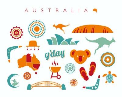 Vinilo Australia icono conjunto - ilustración vectorial