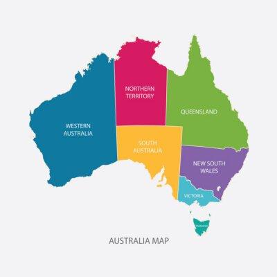 Vinilo AUSTRALIA MAP COLOR CON REGIONES diseño plano ilustración vectorial
