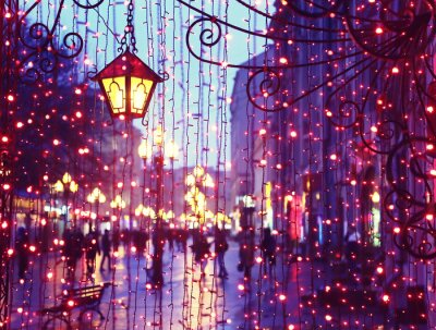 Vinilo Avenida de noche con luces