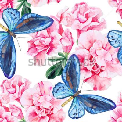 Vinilo Azalea rosa y mariposas azules. Sin costura, pintado a mano, acuarela. Vector de fondo