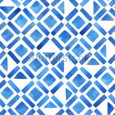 Vinilo Azulejo geométrico abstracto acuarela. Patrón sin costuras en azul