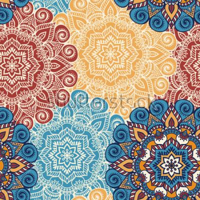Vinilo Azulejos de patrones sin complicaciones con mandalas. Elementos decorativos vintage. Fondo dibujado a mano. Islam, árabe, indio, motivos otomanos. Perfecto para imprimir sobre tela o papel.
