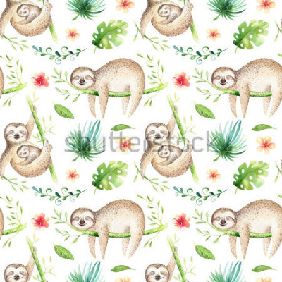 Vinilo Baby animals sloth nursery isolated seamless pattern. Watercolor boho tropical drawing, child tropical drawing cute palm tree leaves, tropic green texture,exotic flower. Aloha backgraund