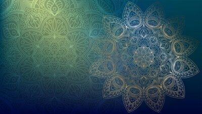 Vinilo Background with golden mandalas, round indian pattern, muslim pattern