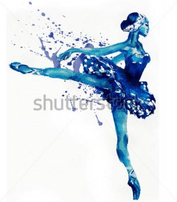 Vinilo Bailarina de baile en azul. Ilustración de acuarela