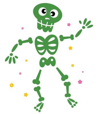 Vinilo Baile lindo esqueleto verde aislado en blanco