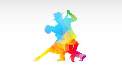 Vinilo ballerini di tango, colori, fantasia, danza, Ballerini, tango