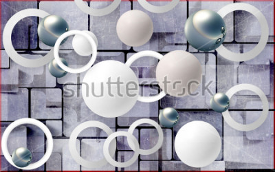 Vinilo Balls and circles on an abstract background. Photo wallpaper for wall. 3D rendering.