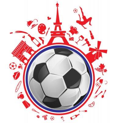 Vinilo Balón de fútbol con el símbolo de Francia