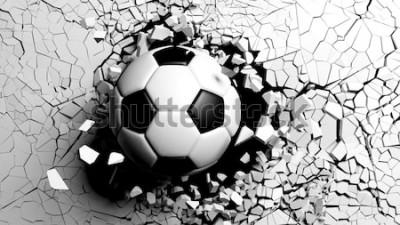 Vinilo Balón de fútbol rompiendo con gran fuerza a través de una pared blanca. Ilustración 3d