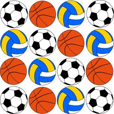 Vinilo Baloncesto iconos balones de fútbol y voleibol