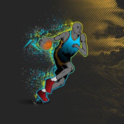 Vinilo Baloncesto, jugador, driblar, pelota