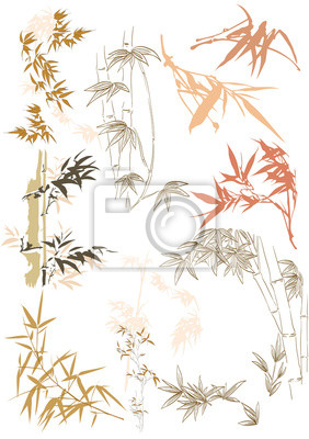 Vinilo Bamboo icons vector. Hand drawn leaves in Japanese and Asian style.