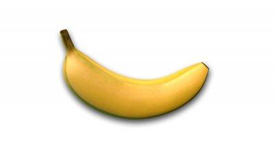 Vinilo Banana, frutas tropicales aisladas sobre fondo blanco, vista lateral