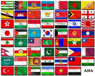 Vinilo Banderas de los países asiáticos en orden alfabético