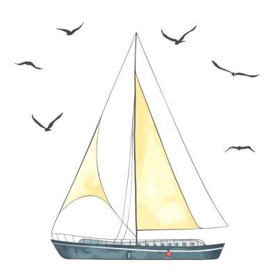 Vinilo Barco con velas y gaviotas hechas en el vector