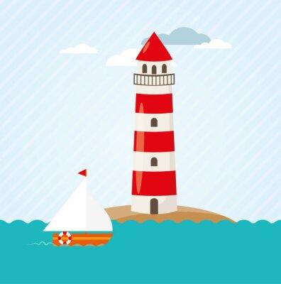 Vinilo Barco de vela en el vector del faro frente al mar