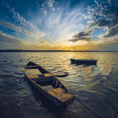 Vinilo Barcos en un río Volga