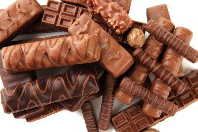 Vinilo Barras de chocolate deliciosos con nueces de cerca la