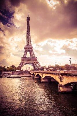 Vinilo Beautiful Eiffel Tower in Paris France under golden light