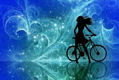 Vinilo Beautiful girl silhouette and bicycle on fantasy sky stars. Young woman in dress with long curly hair standing with bike on bright abstract space background.