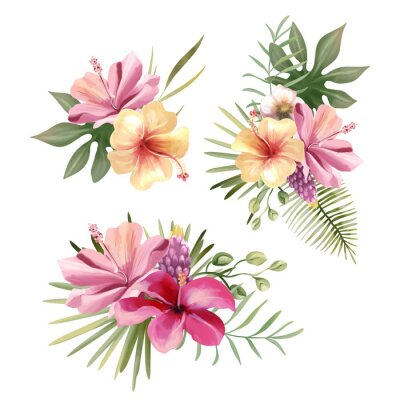 Vinilo Beautiful tropical exotic flowers, floral bouquets, compositions, arrangement, wreaths watercolor illustration isolated on white