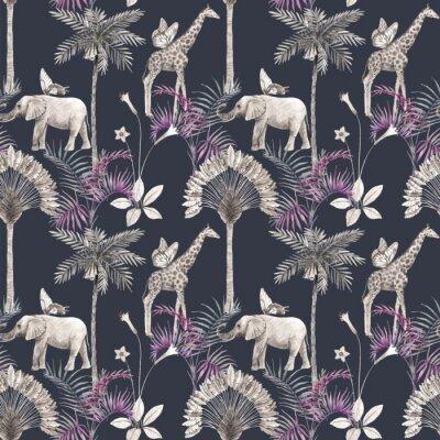 Vinilo Beautiful vector african safari animal tropical seamless pattern. Trendy style. Print with elephants and giraffe. Dark background,